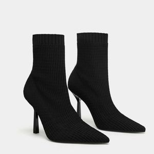 NWT Zara Size 6.5 Elastic Sock Ankle Boots